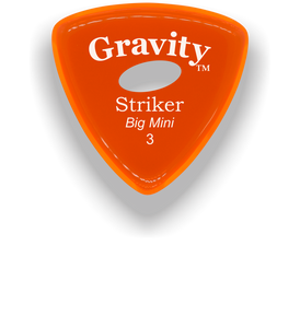 Striker Big Mini 3.0mm Orange Elipse Grip Acrylic Guitar Pick Handmade Custom Best Acoustic Mandolin Electric Ukulele Bass Plectrum Bright Loud Faster Speed