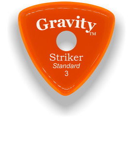 Striker Standard 3.0mm Orange Single Round Grip Acrylic Guitar Pick Handmade Custom Best Acoustic Mandolin Electric Ukulele Bass Plectrum Bright Loud Faster Speed