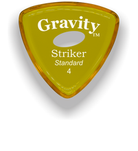 Load image into Gallery viewer, Striker Standard 4.0mm Yellow Elipse Grip Acrylic Guitar Pick Handmade Custom Best Acoustic Mandolin Electric Ukulele Bass Plectrum Bright Loud Faster Speed