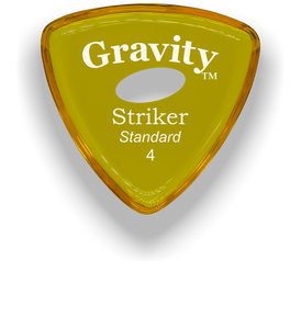 Striker Standard 4.0mm Yellow Elipse Grip Acrylic Guitar Pick Handmade Custom Best Acoustic Mandolin Electric Ukulele Bass Plectrum Bright Loud Faster Speed