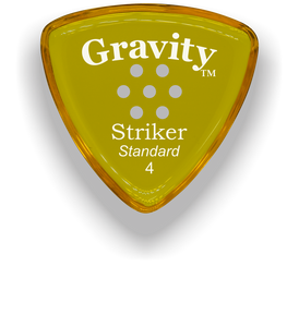 Striker Standard 4.0mm Yellow Multi-Hole Grip Acrylic Guitar Pick Handmade Custom Best Acoustic Mandolin Electric Ukulele Bass Plectrum Bright Loud Faster Speed