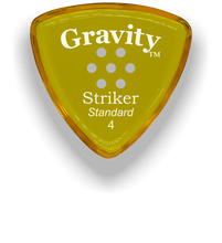 Load image into Gallery viewer, Striker Standard 4.0mm Yellow Multi-Hole Grip Acrylic Guitar Pick Handmade Custom Best Acoustic Mandolin Electric Ukulele Bass Plectrum Bright Loud Faster Speed