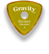 Load image into Gallery viewer, Striker Standard 4.0mm Yellow Single Round Grip Acrylic Guitar Pick Handmade Custom Best Acoustic Mandolin Electric Ukulele Bass Plectrum Bright Loud Faster Speed