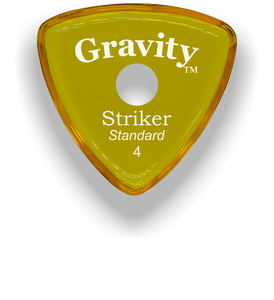 Striker Standard 4.0mm Yellow Single Round Grip Acrylic Guitar Pick Handmade Custom Best Acoustic Mandolin Electric Ukulele Bass Plectrum Bright Loud Faster Speed