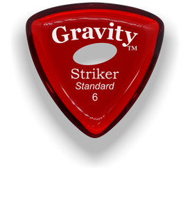 Striker Standard 6.0mm Red Elipse Grip Acrylic Guitar Pick Handmade Custom Best Acoustic Mandolin Electric Ukulele Bass Plectrum Bright Loud Faster Speed