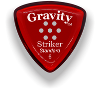 Load image into Gallery viewer, Striker Standard 6.0mm Red Multi-Hole Grip Acrylic Guitar Pick Handmade Custom Best Acoustic Mandolin Electric Ukulele Bass Plectrum Bright Loud Faster Speed
