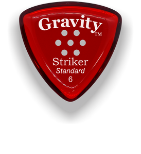 Striker Standard 6.0mm Red Multi-Hole Grip Acrylic Guitar Pick Handmade Custom Best Acoustic Mandolin Electric Ukulele Bass Plectrum Bright Loud Faster Speed