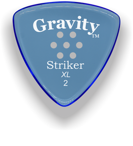 Striker XL 2.0mm Blue Multi-Hole Grip Acrylic Guitar Pick Handmade Custom Best Acoustic Mandolin Electric Ukulele Bass Plectrum Bright Loud Faster Speed