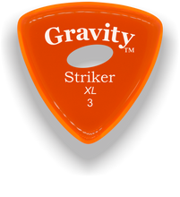 Load image into Gallery viewer, Striker XL 3.0mm Orange Elipse Grip Acrylic Guitar Pick Handmade Custom Best Acoustic Mandolin Electric Ukulele Bass Plectrum Bright Loud Faster Speed