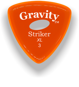 Striker XL 3.0mm Orange Elipse Grip Acrylic Guitar Pick Handmade Custom Best Acoustic Mandolin Electric Ukulele Bass Plectrum Bright Loud Faster Speed