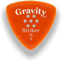 Load image into Gallery viewer, Striker XL 3.0mm Orange Multi-Hole Grip Acrylic Guitar Pick Handmade Custom Best Acoustic Mandolin Electric Ukulele Bass Plectrum Bright Loud Faster Speed
