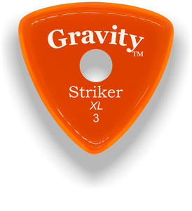 Striker XL 3.0mm Orange Single Round Grip Acrylic Guitar Pick Handmade Custom Best Acoustic Mandolin Electric Ukulele Bass Plectrum Bright Loud Faster Speed
