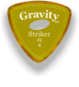 Striker XL 4.0mm Yellow Elipse Grip Acrylic Guitar Pick Handmade Custom Best Acoustic Mandolin Electric Ukulele Bass Plectrum Bright Loud Faster Speed