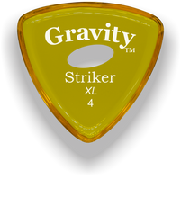 Load image into Gallery viewer, Striker XL 4.0mm Yellow Elipse Grip Acrylic Guitar Pick Handmade Custom Best Acoustic Mandolin Electric Ukulele Bass Plectrum Bright Loud Faster Speed