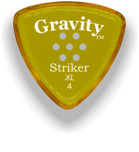 Load image into Gallery viewer, Striker XL 4.0mm Yellow Multi-Hole Grip Acrylic Guitar Pick Handmade Custom Best Acoustic Mandolin Electric Ukulele Bass Plectrum Bright Loud Faster Speed