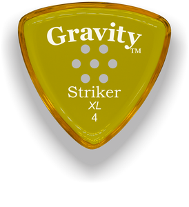 Striker XL 4.0mm Yellow Multi-Hole Grip Acrylic Guitar Pick Handmade Custom Best Acoustic Mandolin Electric Ukulele Bass Plectrum Bright Loud Faster Speed
