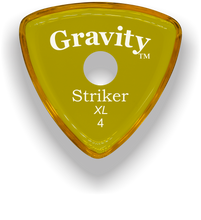 Load image into Gallery viewer, Striker XL 4.0mm Yellow Single Round Grip Acrylic Guitar Pick Handmade Custom Best Acoustic Mandolin Electric Ukulele Bass Plectrum Bright Loud Faster Speed
