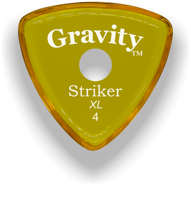 Striker XL 4.0mm Yellow Single Round Grip Acrylic Guitar Pick Handmade Custom Best Acoustic Mandolin Electric Ukulele Bass Plectrum Bright Loud Faster Speed