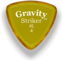 Load image into Gallery viewer, Striker XL 4.0mm Yellow Acrylic Guitar Pick Handmade Custom Best Acoustic Mandolin Electric Ukulele Bass Plectrum Bright Loud Faster Speed