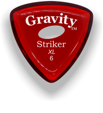Load image into Gallery viewer, Striker XL 6.0mm Red Elipse Grip Acrylic Guitar Pick Handmade Custom Best Acoustic Mandolin Electric Ukulele Bass Plectrum Bright Loud Faster Speed