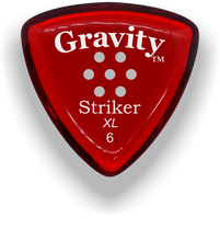 Load image into Gallery viewer, Striker XL 6.0mm Red Multi-Hole Grip Acrylic Guitar Pick Handmade Custom Best Acoustic Mandolin Electric Ukulele Bass Plectrum Bright Loud Faster Speed