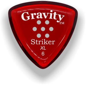 Striker XL 6.0mm Red Multi-Hole Grip Acrylic Guitar Pick Handmade Custom Best Acoustic Mandolin Electric Ukulele Bass Plectrum Bright Loud Faster Speed