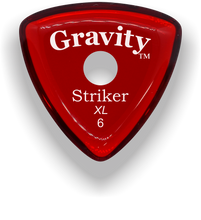 Load image into Gallery viewer, Striker XL 6.0mm Red Single Round Grip Acrylic Guitar Pick Handmade Custom Best Acoustic Mandolin Electric Ukulele Bass Plectrum Bright Loud Faster Speed