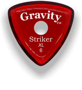 Striker XL 6.0mm Red Single Round Grip Acrylic Guitar Pick Handmade Custom Best Acoustic Mandolin Electric Ukulele Bass Plectrum Bright Loud Faster Speed