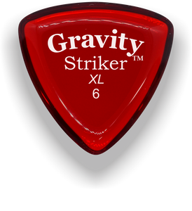 Striker XL 6.0mm Red Acrylic Guitar Pick Handmade Custom Best Acoustic Mandolin Electric Ukulele Bass Plectrum Bright Loud Faster Speed