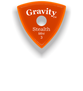 Stealth Mini 3.0mm Orange Single Round Grip Acrylic Guitar Pick Handmade Custom Best Acoustic Mandolin Electric Ukulele Bass Plectrum Bright Loud Faster Speed