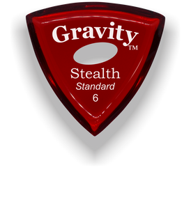 Stealth Standard 6.0mm Red Elipse Grip Acrylic Guitar Pick Handmade Custom Best Acoustic Mandolin Electric Ukulele Bass Plectrum Bright Loud Faster Speed