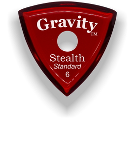 Stealth Standard 6.0mm Red Single Round Grip Acrylic Guitar Pick Handmade Custom Best Acoustic Mandolin Electric Ukulele Bass Plectrum Bright Loud Faster Speed
