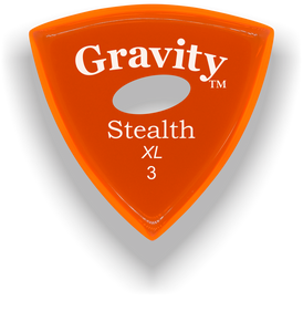 Stealth XL 3.0mm Orange Elipse Grip Acrylic Guitar Pick Handmade Custom Best Acoustic Mandolin Electric Ukulele Bass Plectrum Bright Loud Faster Speed