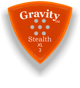 Stealth XL 3.0mm Orange Multi-Hole Grip Acrylic Guitar Pick Handmade Custom Best Acoustic Mandolin Electric Ukulele Bass Plectrum Bright Loud Faster Speed