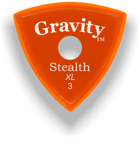 Stealth XL 3.0mm Orange Single Round Grip Acrylic Guitar Pick Handmade Custom Best Acoustic Mandolin Electric Ukulele Bass Plectrum Bright Loud Faster Speed
