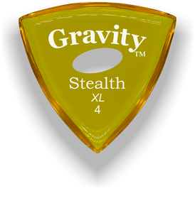 Stealth XL 4.0mm Yellow Elipse Grip Acrylic Guitar Pick Handmade Custom Best Acoustic Mandolin Electric Ukulele Bass Plectrum Bright Loud Faster Speed