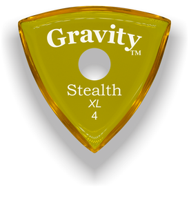 Stealth XL 4.0mm Yellow Single Round Grip Acrylic Guitar Pick Handmade Custom Best Acoustic Mandolin Electric Ukulele Bass Plectrum Bright Loud Faster Speed