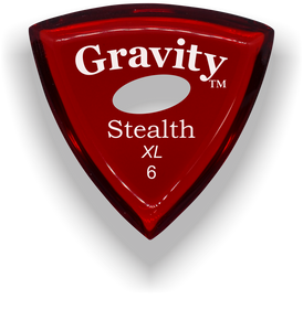 Stealth XL 6.0mm Red Elipse Grip Acrylic Guitar Pick Handmade Custom Best Acoustic Mandolin Electric Ukulele Bass Plectrum Bright Loud Faster Speed