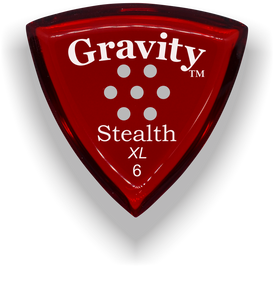 Stealth XL 6.0mm Red Multi-Hole Grip Acrylic Guitar Pick Handmade Custom Best Acoustic Mandolin Electric Ukulele Bass Plectrum Bright Loud Faster Speed