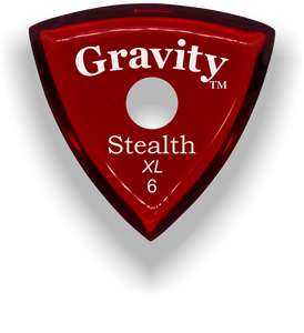 Stealth XL 6.0mm Red Single Round Grip Acrylic Guitar Pick Handmade Custom Best Acoustic Mandolin Electric Ukulele Bass Plectrum Bright Loud Faster Speed