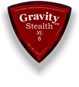 Stealth XL 6.0mm Red Acrylic Guitar Pick Handmade Custom Best Acoustic Mandolin Electric Ukulele Bass Plectrum Bright Loud Faster Speed