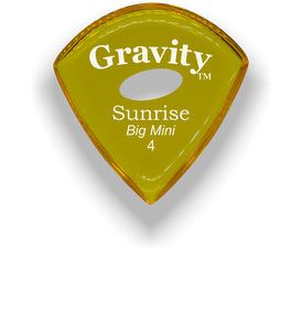 Sunrise Big Mini 4.0mm Yellow Elipse Grip Acrylic Guitar Pick Handmade Custom Best Acoustic Mandolin Electric Ukulele Bass Plectrum Bright Loud Faster Speed