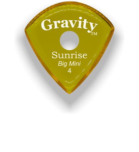 Sunrise Big Mini 4.0mm Yellow Single Round Grip Acrylic Guitar Pick Handmade Custom Best Acoustic Mandolin Electric Ukulele Bass Plectrum Bright Loud Faster Speed
