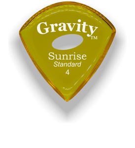 Sunrise Standard 4.0mm Yellow Elipse Grip Acrylic Guitar Pick Handmade Custom Best Acoustic Mandolin Electric Ukulele Bass Plectrum Bright Loud Faster Speed