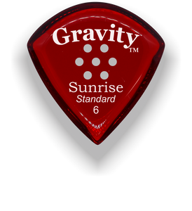 Sunrise Standard 6.0mm Red Multi-Hole Grip Acrylic Guitar Pick Handmade Custom Best Acoustic Mandolin Electric Ukulele Bass Plectrum Bright Loud Faster Speed