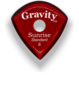 Sunrise Standard 6.0mm Red Single Round Grip Acrylic Guitar Pick Handmade Custom Best Acoustic Mandolin Electric Ukulele Bass Plectrum Bright Loud Faster Speed