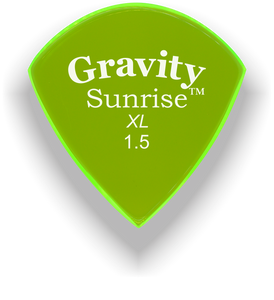 Sunrise XL 1.5mm Fluorescent Green Acrylic Guitar Pick Handmade Custom Best Acoustic Mandolin Electric Ukulele Bass Plectrum Bright Loud Faster Speed
