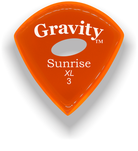 Sunrise XL 3.0mm Orange Elipse Grip Acrylic Guitar Pick Handmade Custom Best Acoustic Mandolin Electric Ukulele Bass Plectrum Bright Loud Faster Speed