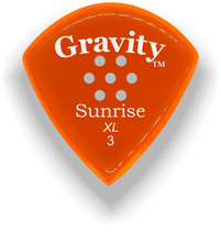 Load image into Gallery viewer, Sunrise XL 3.0mm Orange Multi-Hole Grip Acrylic Guitar Pick Handmade Custom Best Acoustic Mandolin Electric Ukulele Bass Plectrum Bright Loud Faster Speed