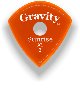 Sunrise XL 3.0mm Orange Single Round Grip Acrylic Guitar Pick Handmade Custom Best Acoustic Mandolin Electric Ukulele Bass Plectrum Bright Loud Faster Speed
